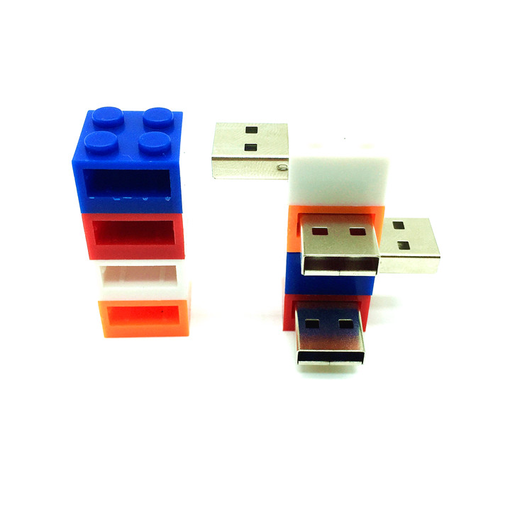 pendrive cartoon building blocks usb 2.0 usb flash drive silicone pen drive 4gb 8gb 16gb 32gb 64gb children toy memory flash