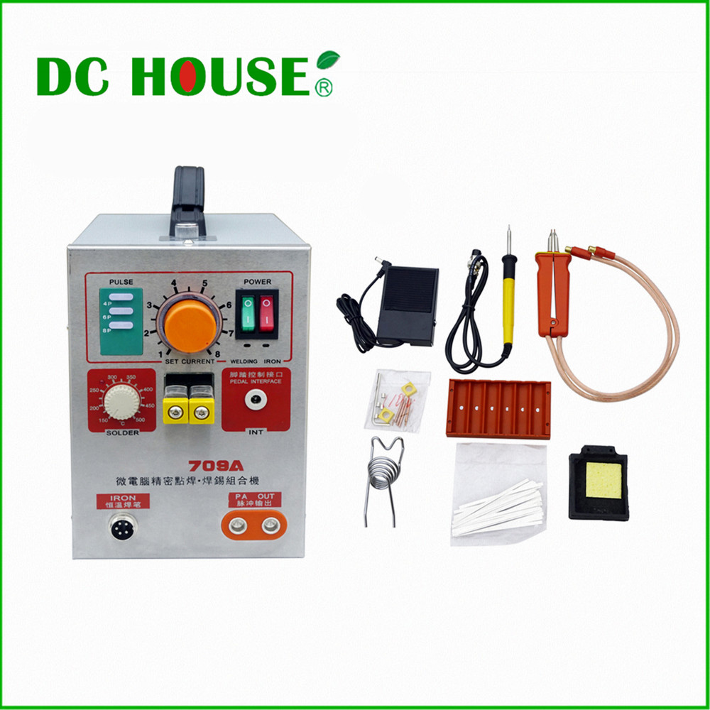 ECO 1.9KW LED Pulse Battery Spot Welder 709A with Soldering Iron Station Spot Welding Machine for 18650 16430 14500 Battery Pack  цены
