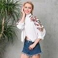 Simplee Bordado blusa branca shirt mulheres tops Curto chemise Ocasional da praia do verão 2017 blusas femininas blusas de manga longa