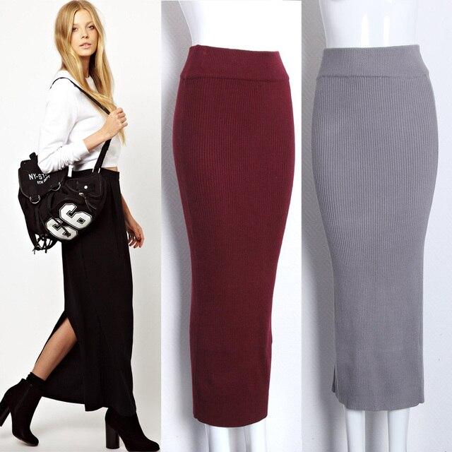 020 Ankle Length Split Women Knitted Wool Pencil Skirt