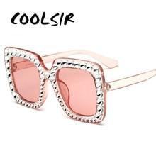 COOLSIR Luxury Brand Designer Italian Big Crystal Sun Glasses Square Shades Women Oversized Sunglasses Retro Top Rhinestone