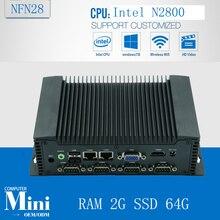 Ubuntu собраны безвентиляторный настольный компьютер NFN28, встроенный Мини-компьютер поддержка Windows/Linux OS с ОЗУ 2 Г SSD 64 Г
