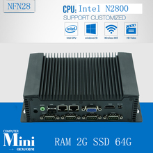 Ubuntu assembled fanless desktop computer NFN28, Embedded Mini computer support Win/Linux OS with RAM 2G SSD 64G