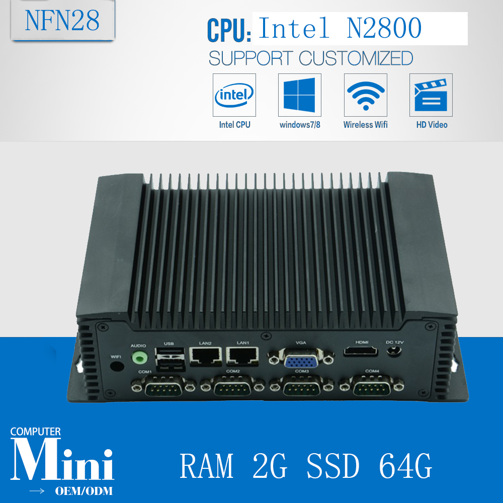 Fanless Desktop Computer Industrial Computer  Atom N2800 1.86GHz Embedded Mini Computer Support Win/Linux OS With RAM 2G SSD 64G