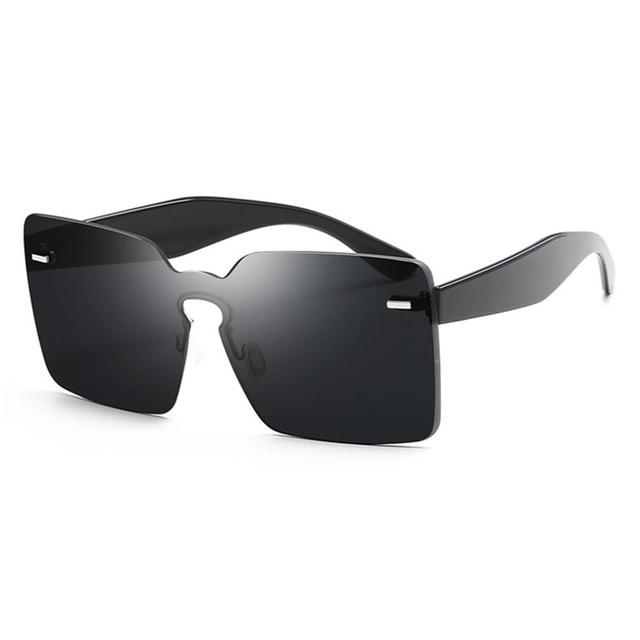 bbdc522b2c Rimless UV Big Square Unisex Sunglasses Summer Party Eyewear PC HD Lenses  Wear Resistance Glasses Eyeglasses