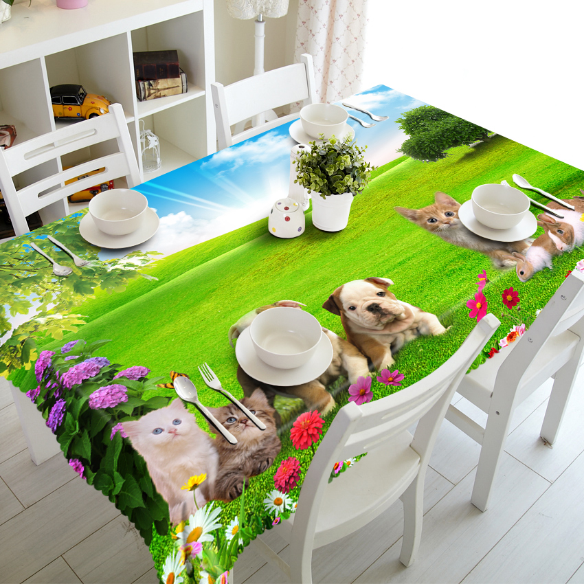 3D Tablecloth Cute Kitten Puppy Pattern Polyester Cotton Material Dustproof Wedding Party Decoration Table Cloth