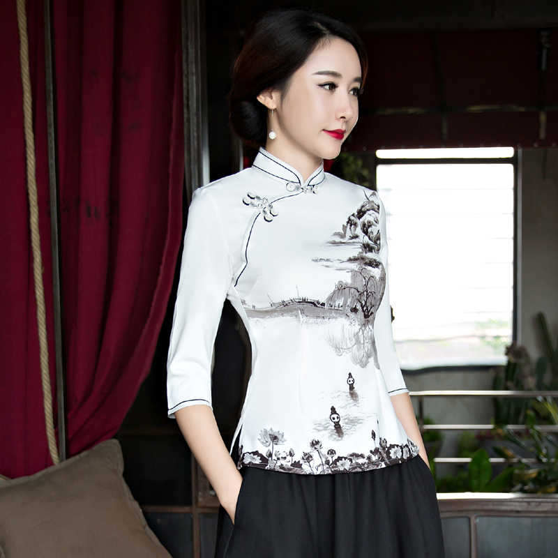 2018 mode style chinois chemise femmes col Mandarin Blouse dame vêtements cheongsam été courte Qipao robe taille S-XXXL