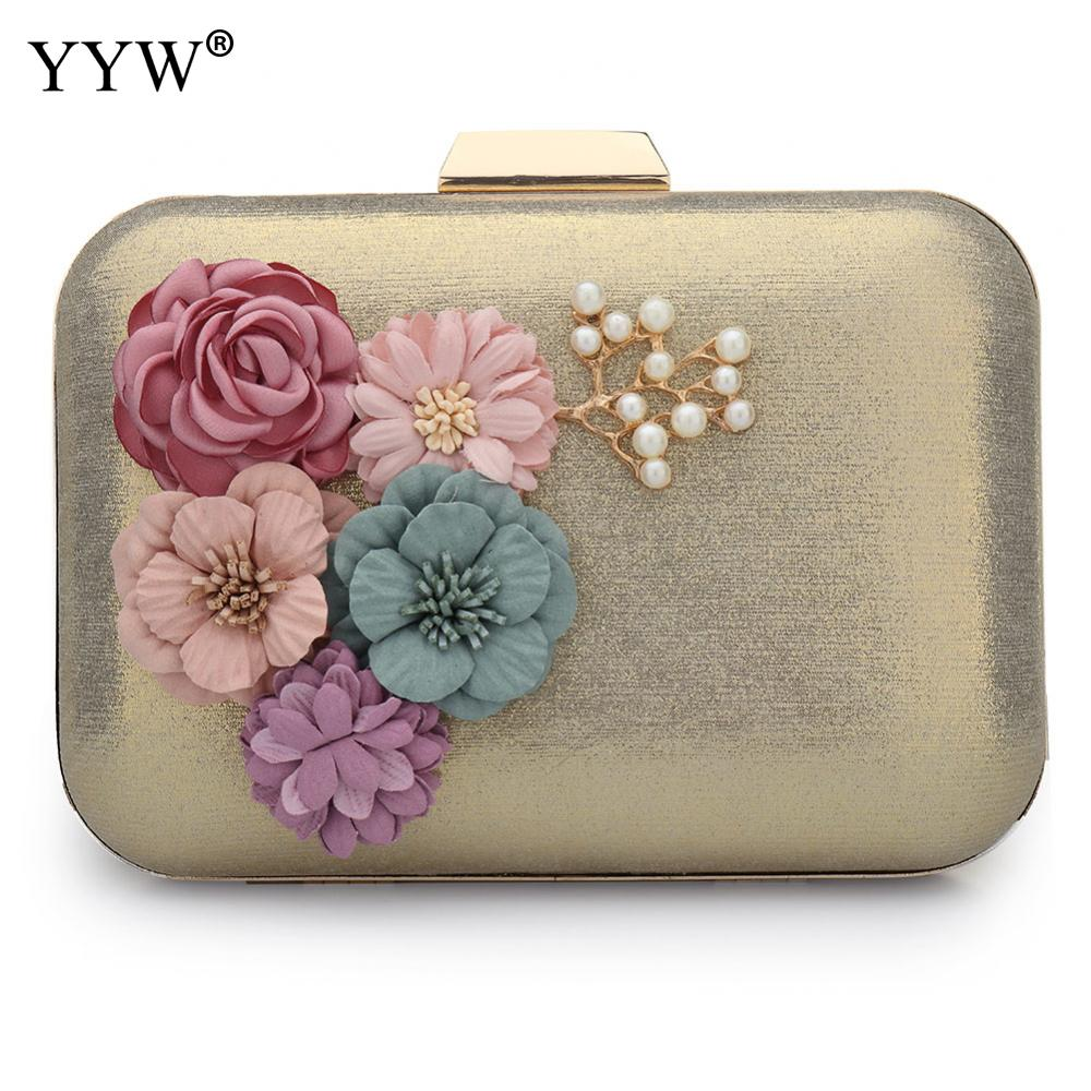 Vintage Leather Clutch Bag Australian Style With Floral Gold Black Women Evening Bags Wedding ...