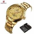 Naviforce reloj de los hombres de primeras marcas de lujo de oro de acero inoxidable del ejército militar relojes de pulsera de cuarzo reloj reloj de los deportes masculinos montre homme