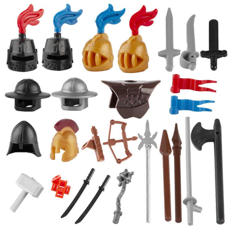 Armas militares medievales construcción de bloques soldados casco Castillo Caballero espada romano ejército figuras piezas Guerrero armadura Accesorios