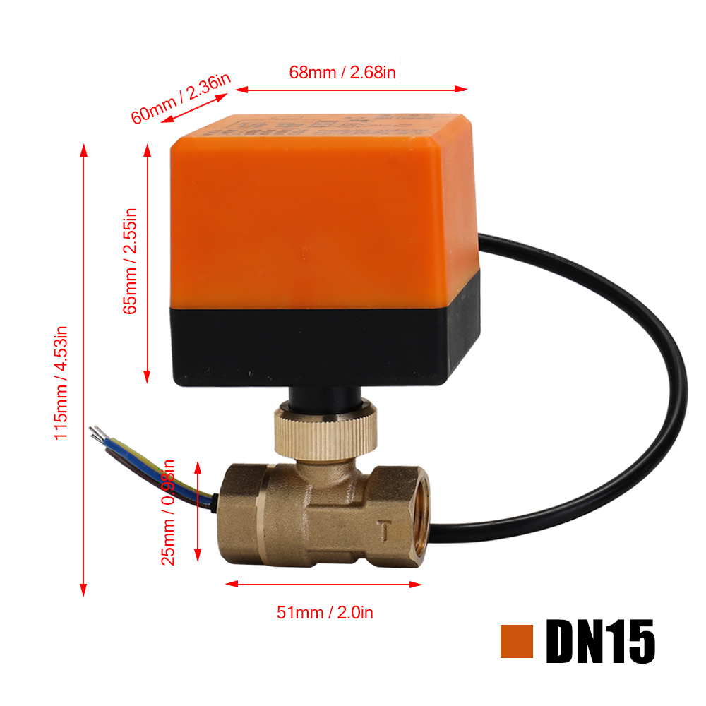 Image 4 - DN15/DN20/DN25 Electric Motorized Brass Ball Valve DN20 AC 220V 2 Way 3 Wire with Actuator Manual Switch Free Ship-in Valve from Home Improvement