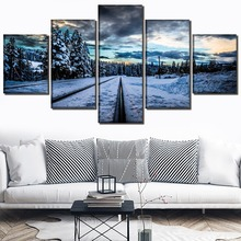 Snow road Landscape 5 Piece HD Print Painting Wall Art Canvas Living Room Modern Decorative Artwork