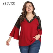 Seluxu 2019 Autumn Women Shirt Plus Size Sexy V-Neck Tops Patchwork Lace Hollow Out  Flare Sleeve Chiffon