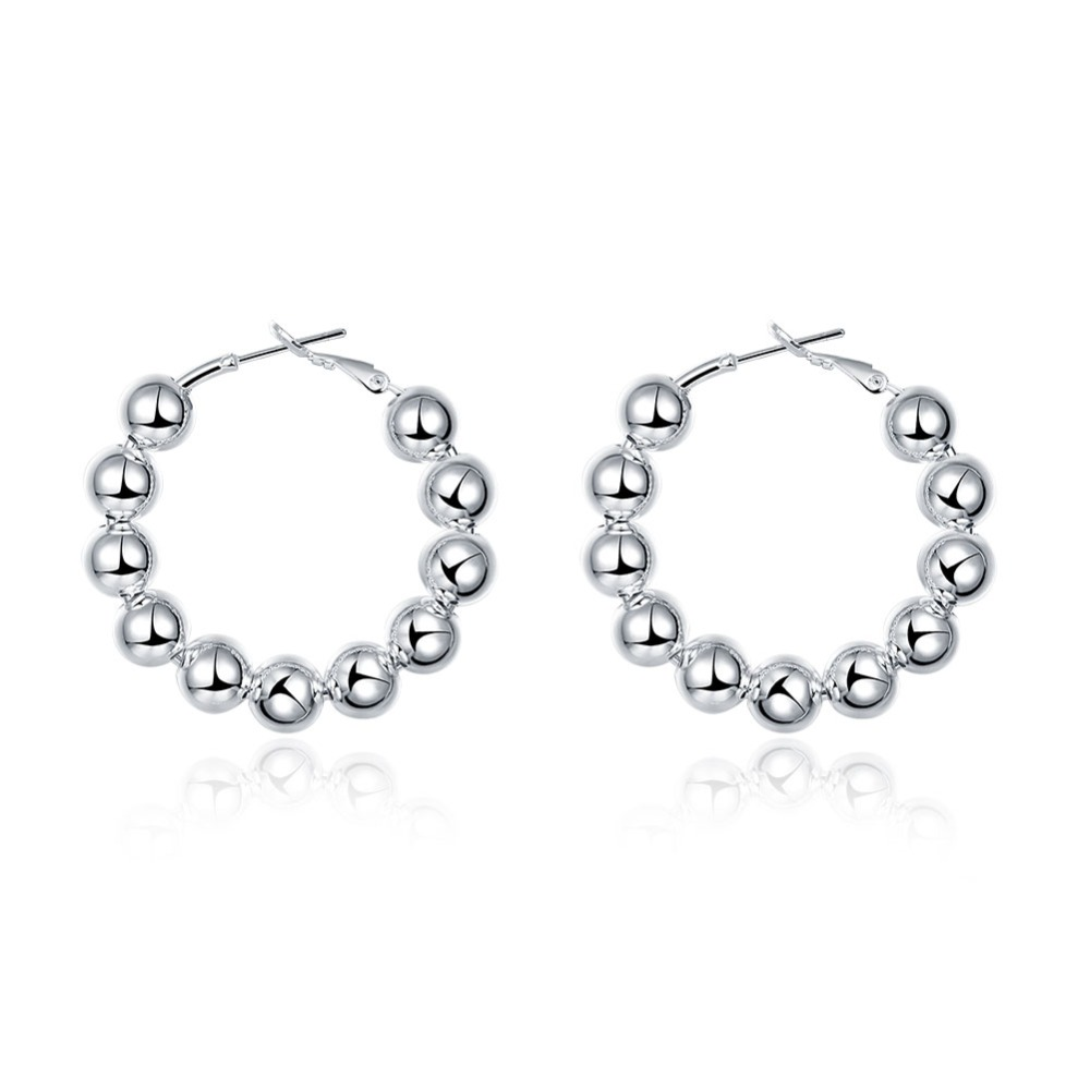 Fashion Silver Plated 8mm Round Beads Hoop Earrings Indian Buddhism  Jewelry(china (mainland)