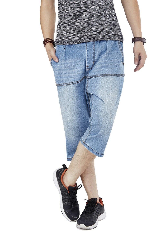 Hip Hop Mens Baggy Wide leg shorts Washed Blue Denim Jeans 2017 Summer Skateboard Drawstring Shorts Plus Size 30-46 050312