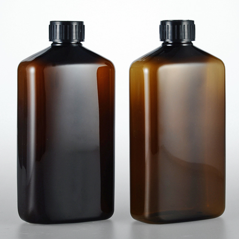 1pcs 500ml brown flat bottle emulsion is divided into bottles Large ribbed silk cover high grade pure dew bottling BQ058 in Tumblers from Home Garden