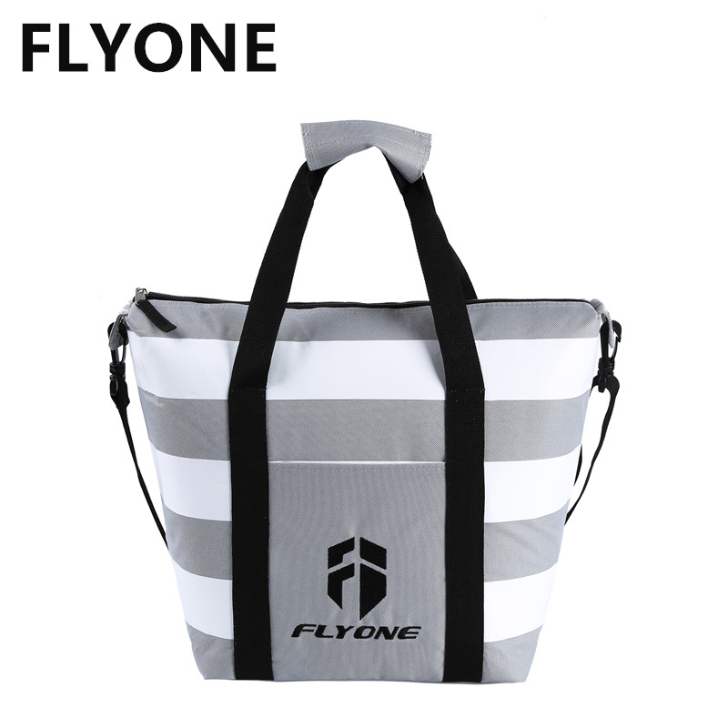 Unisex Large Capacity Cooler Bag Insulation Bags Insulated Picnic Cooler Bags Thermal Lunch Handbags for Men Women Stripe PVC