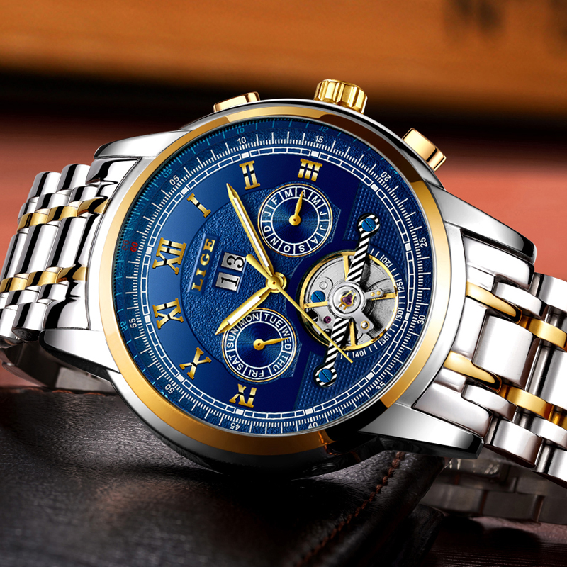 Watch Mens Tourbillon Automatic mechanical Watches Moon phases Men Top Brand Luxury Dive 30M Business Steel Clcok Relojes top brand mce mechanics self wind flying tourbillon watches men mility moon automatic mechanical watch tonneau man relojes mujer