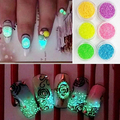 8 pcs Moda Feminina Glitter Luminous Nail Art Stickers Dicas Manicure Brilham No Escuro