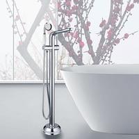 Ouboni Modern Chrome Brass Single Handle Bathtub Tap 51012 6677 Solid Brass Floor Mount Free Stand