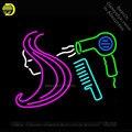 Barber Shop Haar Logo Salon Neon Zeichen Erholung Zimmer Windows Handwerk Neon Birne Glas Rohr Shop Display Geschenk Kommerziellen 17x14-in Neonröhren & Röhren aus Licht & Beleuchtung bei