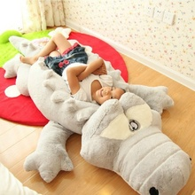 Creative Oversized Cute Crocodile Lying Section Plush Pillow Mat Hand Doll Stuffed Toy Cartoon Toys Kids Prize Gift
