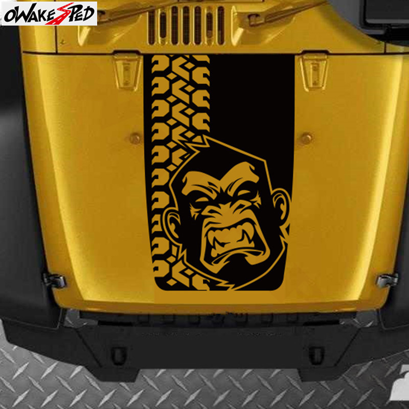 <font><b>Angry</b></font> Monkey Graphics Decal <font><b>Car</b></font> Hood Decor <font><b>Sticker</b></font> Automobile Engine Cover Accessories Vinyl <font><b>Sticker</b></font> For Jeep Wrangler image
