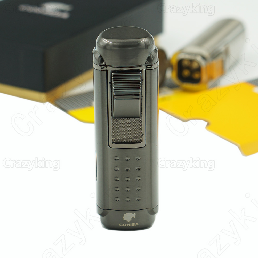 Europe Buyer Cohiba Tempered Steel Gas Butane 4 Torch Jet Flame Cigar Lighter With Punch Cigarette Windproof Lighters Gift Box