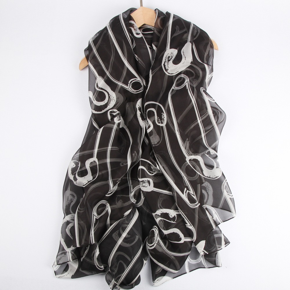 shistal- pure silk scarves branded print scarf design size 180*140 soft shawl for women image