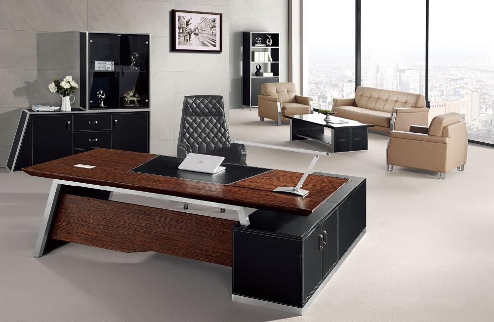 Elegante en forma de l de cuero moderna oficina escritorio for Disenos de escritorios para oficina