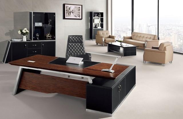 Elegante en forma de l de cuero moderna oficina escritorio for Mesa oficina moderna