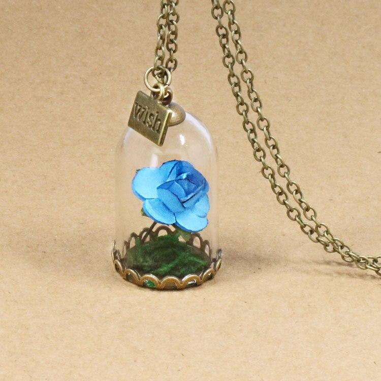 HTB1KgZ4QpXXXXX1apXXq6xXFXXX4 - 1PC jewelry Beauty and the Beast Necklace Wish Rose Flower in Glasses Pendant Necklace PTC 198