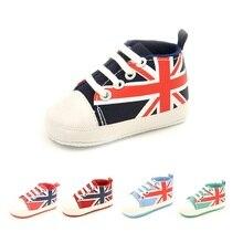 The Union Flag Baby Boy Canvas Shoes Newborn First Walkers Fashion Babies Girls Sneakers Prewalker Sport Shoe Infant Boots Jack