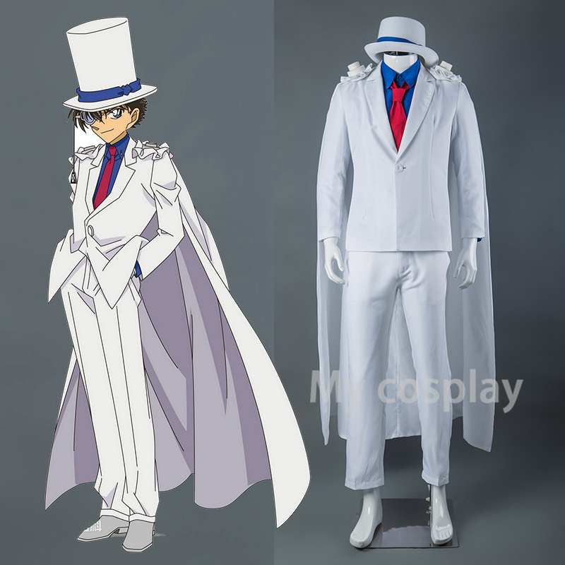 Anime DETECTIVE CONAN Magic Kaito Kiddo Kid the Phantom Thief Uniforms Cosplay Costume Complete Set High Quality With Hat Gloves