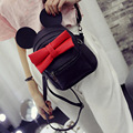 2016 spring new female bag quality pu leather women bag Korean version of Mickey ears sweet bow College Wind mini backpackXA245B