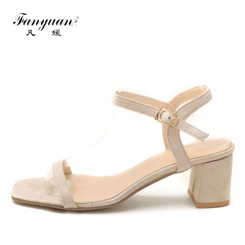 418150ca762 Fanyuan Women Classic Summer Sandals High Heels Shoes Nude Line Style Comfy Square  Heel Roman Sandals Concise sandalias Open Toe-in High Heels from Shoes on  ...