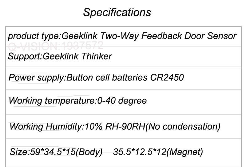 7-Geeklink Two-Way Feedback Door Sensor Contact Wireless Door Window Magnet Entry Detector Sensor For Smart Home Alarm Security
