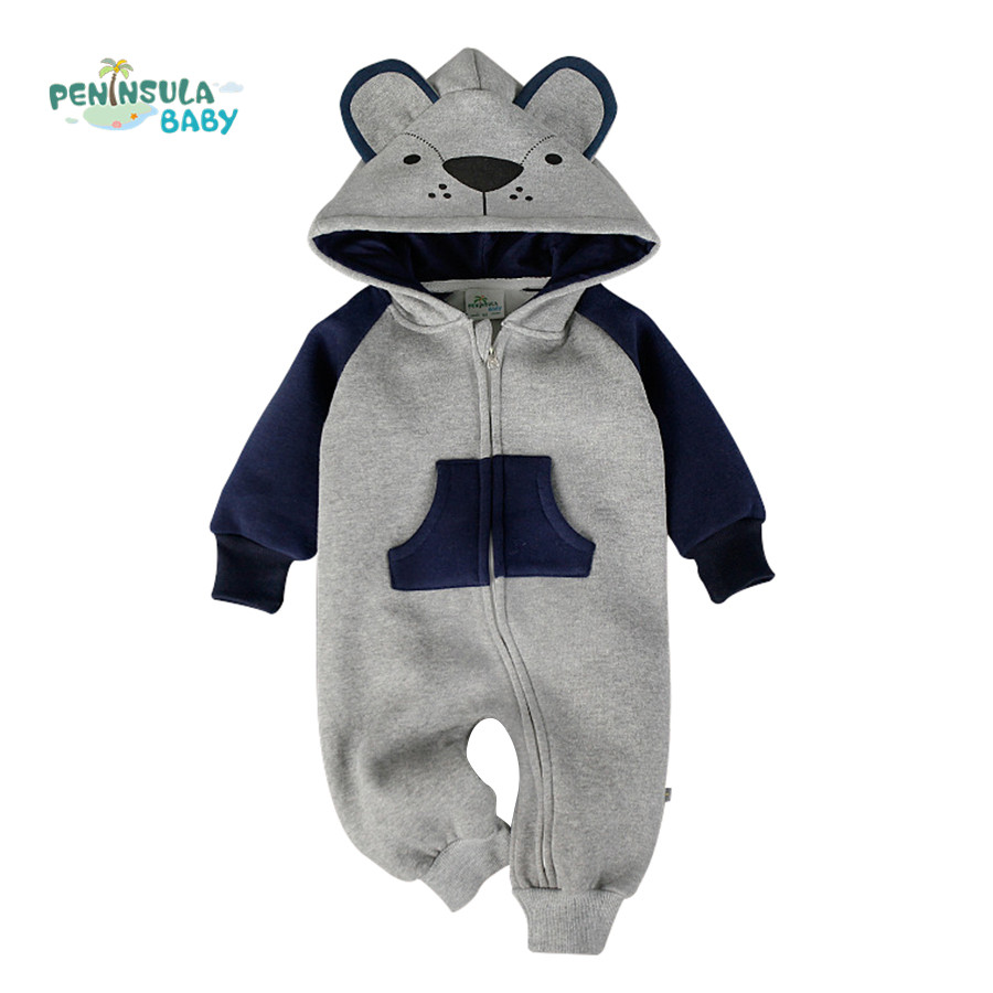 9d6b6aa66 Dropwow Cotton Baby Rompers Boy Girl Clothes Cartoon Fox Bear 3D ...