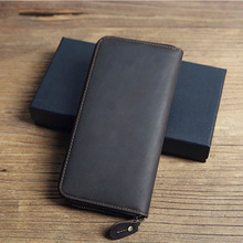 Crazy Horse Split Leather Men Wallet vintage Super Thin Handmade Slim wallet Long Small phone Purse