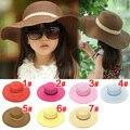 Free shipping 1 pcs Little Girls summer hat Children sun Hat Stylish Child Topee Brim Kids Straw Hat Child Cap