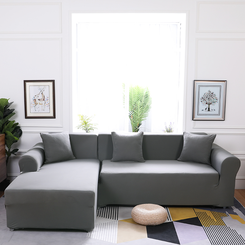 Elasticity L Shaped Sofa Cover Single/double/three/four-Seat Sofa  Slipcovers Cotton Solid Sofa Cover for Living Room Seat Cover