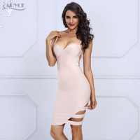 Adyce 2017 New Arrival Summer Women Bandage Dress Sexy Spaghetti Strap V Neck Hollow Out Vestidos