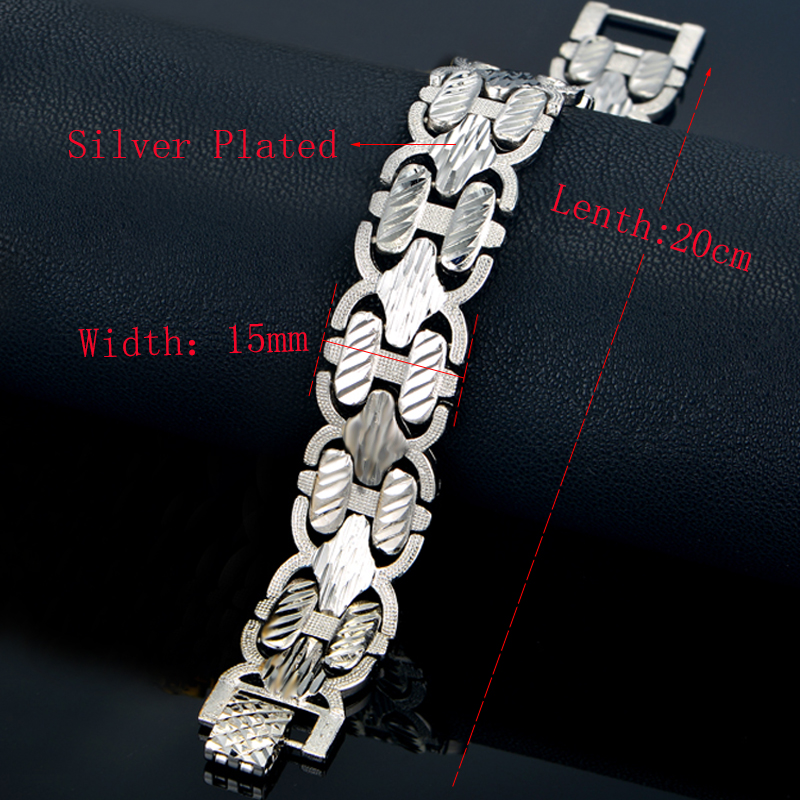 Male Bracelet Women Jewelry 12MM Pulseira Masculine Trendy Gold Color Chunky Chain Link Bracelet Wholesale Bileklik For Man P166 9