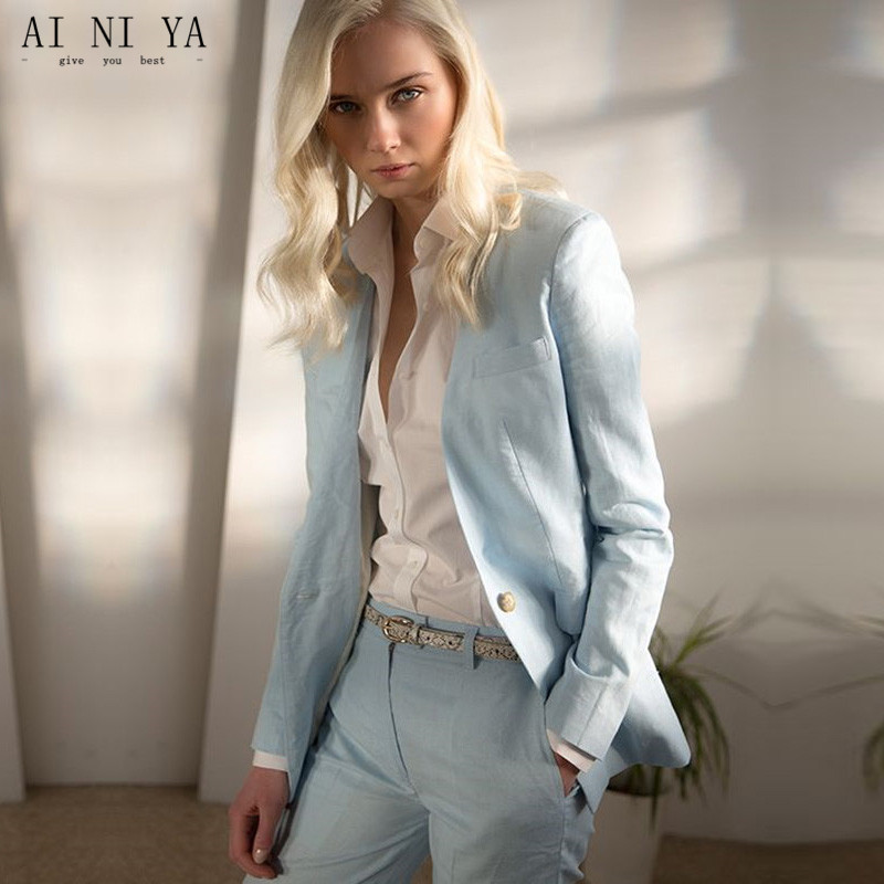 Back To Search Resultswomen's Clothing Light Sky Blue Womens Business Work Suits Female Office Uniform New Design Ladies Formal Trouser Suits 2 Piece Blazer Custom Suits & Sets