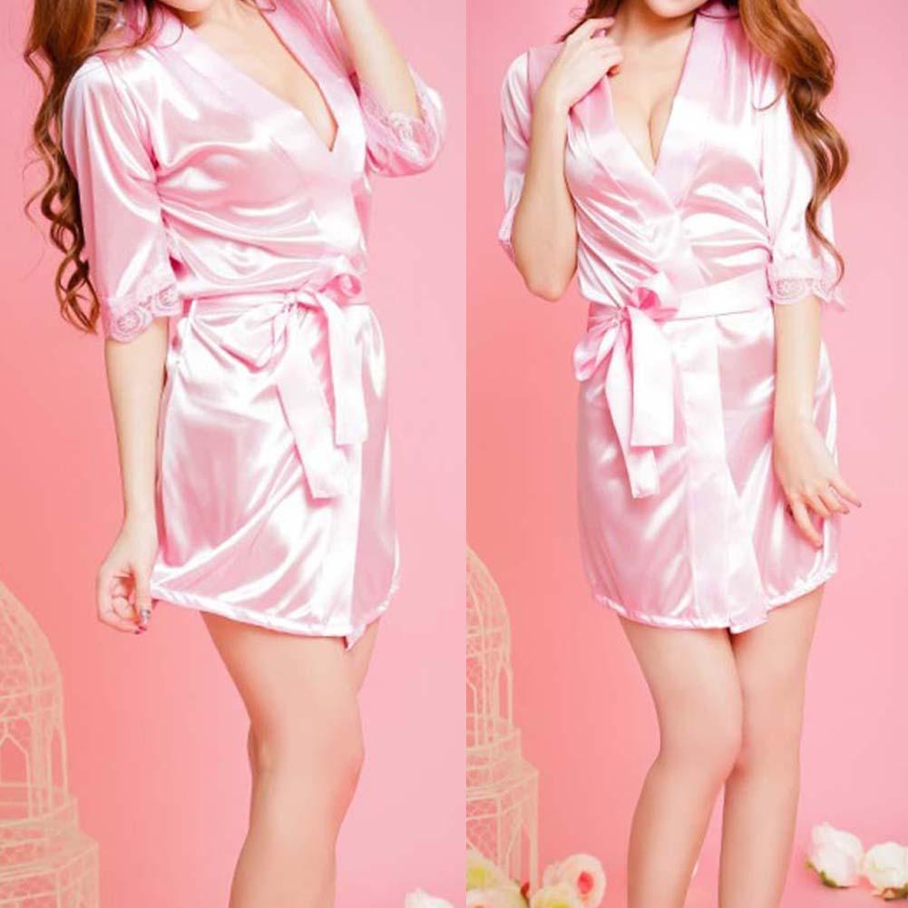 ee26865429 Sexy Women Sleepwear Satin Lace Soft Nightgown Nightdress Sleepwear Robe  Pink Night Suits Satin Robe for Sexual Gift-in Robes from Underwear    Sleepwears on ...