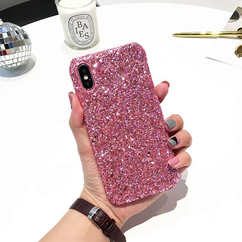 Brokat sztywne etui na iPhone 8 Plus 11 Pro błyszczące Bling etui na iPhone XS Max XR 7 8 6 6s Plus 10 5S obudowy na telefony komórkowe EEMIA