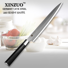 XINZUO 9.5″ inch sashimi knife sushi tool Germany steel kitchen knife professional chef knife row fish knife wood scabbard