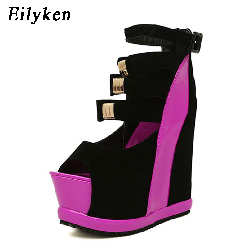 Eilyken New Summer Shoes Woman Sexy Ultra High Heels Female Sandals Platform Wedges Open Toe Women Shoes Princess Shoes все цены