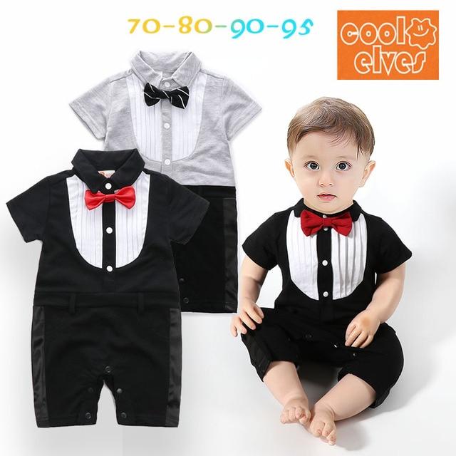 Summer Black  White Baby Boy Newborn Tuxedo Boys Bow Suit Clothes Gentleman  Sets Clothing Roupa Jumpsuits de bebe HOT fee14098cc