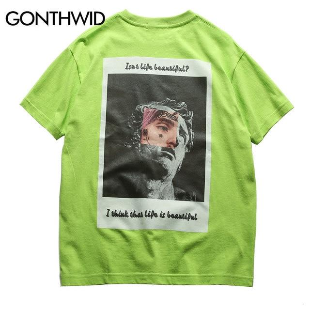 GONTHWID Lustige Michelangelo Statue David Drucken T-shirts Streetwear 2019 Hip Hop Herren Kurzarm Tops Tees Männlichen Kausalen T Shirts